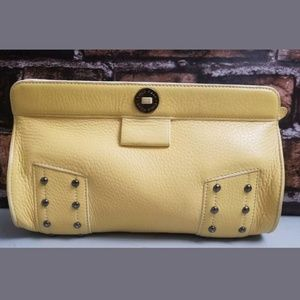 Cole Haan Leather Studded Pebbled Clutch Yellow